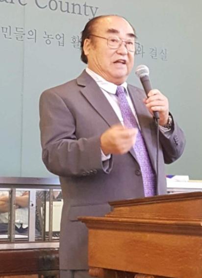 차만재 개막식 축사를 하는 차만재 중가주역사연구위원회 회장. 차만재 박사는 이번 전시회에 큰 역할을 했다.