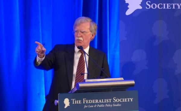 미국 워싱턴DC 연방주의자협회에서 연설하고 있는 존 볼턴 백악관 NSC보좌관.
