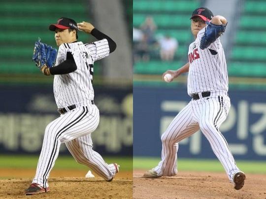 LG의 5선발 내부 경쟁을 벌이고 있는 김대현과 배재준 (사진: LG 트윈스)