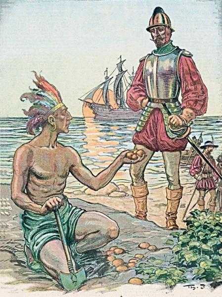 스페인의 침략자에게 감자를 권하는 아메리칸 인디언