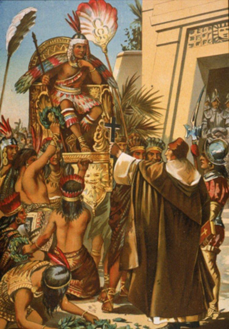 잉카제국의 황제와 스페인의 정복자의 첫 만남