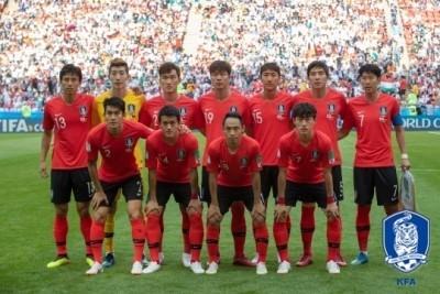 대한민국 축구 국가대표 A팀의 모습이다.