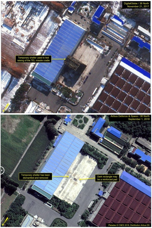 2017년 11월 21일(위)과 2018년 9월 1일 각각 촬영된 위성사진. 미사일 이동식발사대를 시험하는 임시구조물이 사라졌다.