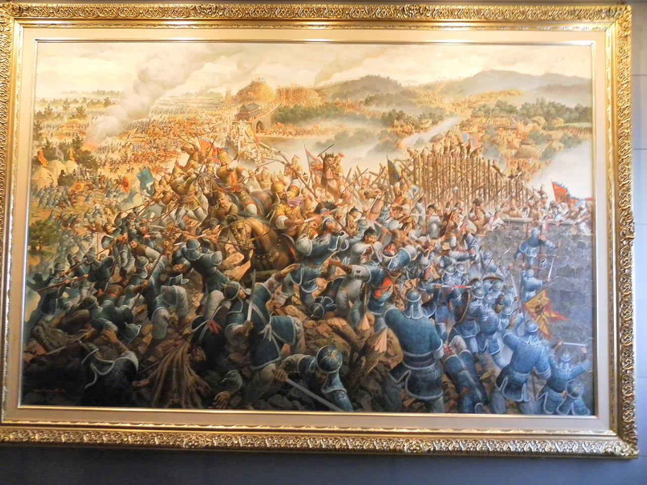 안시성 전투 상상화. 서울시 용산구의 전쟁기념관에서 찍은 사진.