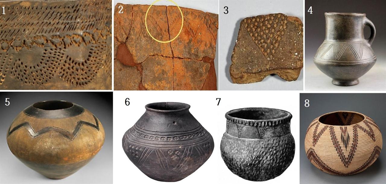 1·3. 서울 암사동(국립중앙박물관) 2. 부산 동삼동(국립중앙박물관) 4. 이란 아믈라쉬 그릇(기원전 1200-1000년) 5. 남아프리카 줄루 그릇(20세기, 높이 29.2cm) 6. 영국 앵글로색슨시대 그릇. 7. 미국 아칸소(Arkansa) 주 피칸 포인트(Pecan Point) 신석기 그릇 8. 미국 캘리포니아 아메리카 원주민이 짠 바구니(19세기, 높이 20.3cm)