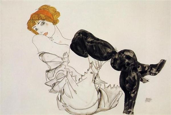 검은 스타킹을 신은 발리 노이질(에곤 실레,1913,개인소장)