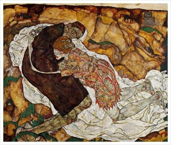죽음과 소녀(에곤 실레,1915,빈 오스트리아 미술관)