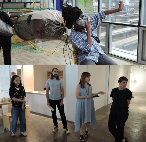 [위] 줄리앙 크뢰제(Julien Creuzet 1986-) 3D 작품. 마르티니크계 프랑스시인이자 시각예술가다. 신세대작가답게 3D가상 아트를 시도한다. [아래] '헬싱키국제작가프로젝트'를 주도한 '옌니 누르멘니에미(J. Nurmenniemi)' 큐레이터(오른쪽 2번째)와 핀란드 작가들