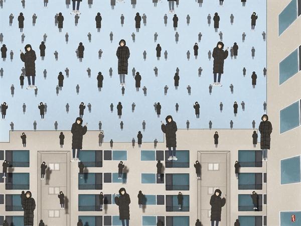 <한국 겨울비(김명순 作) / 르네 마그리트 '골콩드'를 패러디한 작품. 똑같은 롱패딩을 입고 다니는 현대인을 풍자한 그림>