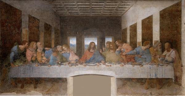 레오나르도의 <최후의 만찬>. 예수의 발치가 빈 공간이다.