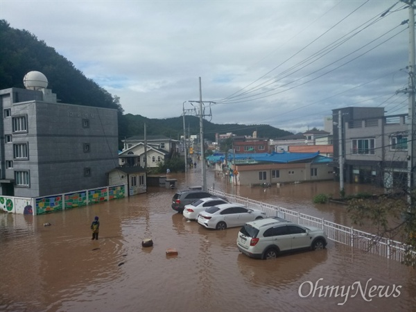 지난 6일 태풍 '콩레이'의 영향으로 많은 비가 내린 경북 영덕군 강구면 오포리 모습. 차량들이 물에 침수돼 있다.