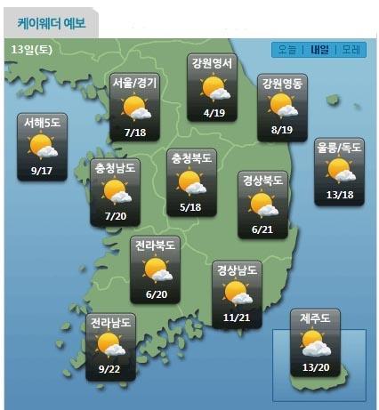 이번 주 토요일(13일) 날씨 전망 (자료제공=케이웨더)