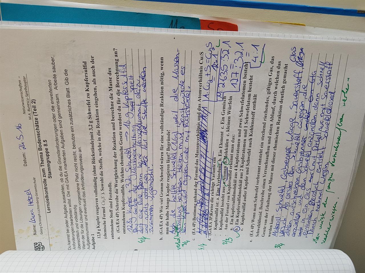 학생 평가서 괴팅겐 통합학교에서는 과목별 평가서, 수업태도, 과제 수행 능력, 조모임에서의 역할 등을 학생별로 세세하게 기록한다.