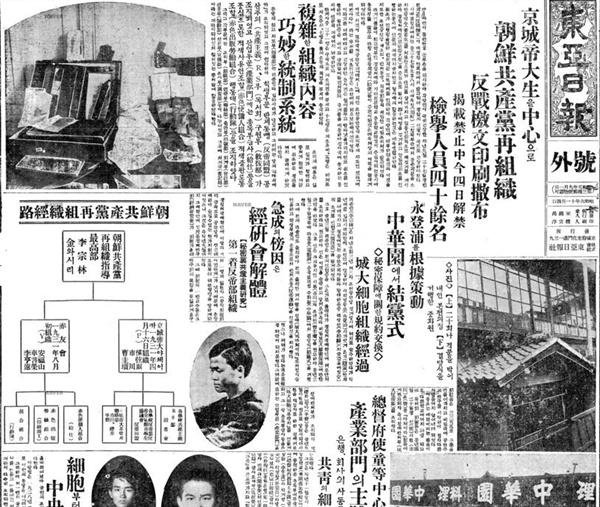 성대반제동맹 사건과 조선공산당재조직 사건을 알리는 동아일보의 호외(1931. 11. 4) 동아일보는 호외까지 내서 이종림과 강진(김와시리)이 관여한 조선공산당재조직 사건과 성대반제동맹 사건을 2면에 걸쳐 다뤘다.