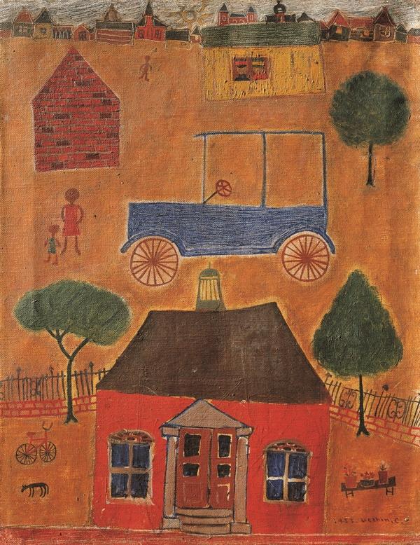 자동차가 있는 풍경(1953년 작) 장욱진 가옥의 양옥 건물은 이 작품 속의 벽돌집을 바탕으로 직접 구상하여 건축한 것이라고 한다.(사진은 장욱진미술문화재단에서 제공받은 자료입니다. 저작권자의 허락없는 무단 사용을 금합니다.)