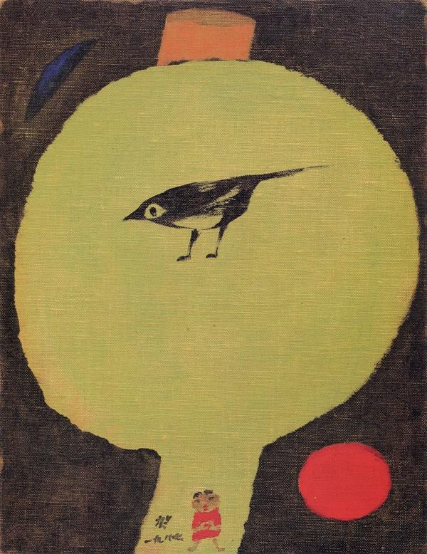 까치 (1987년 작, 호암미술관 소장) (사진은 장욱진미술문화재단에서 제공받은 자료입니다. 저작권자의 허락없는 무단 사용을 금합니다.)
