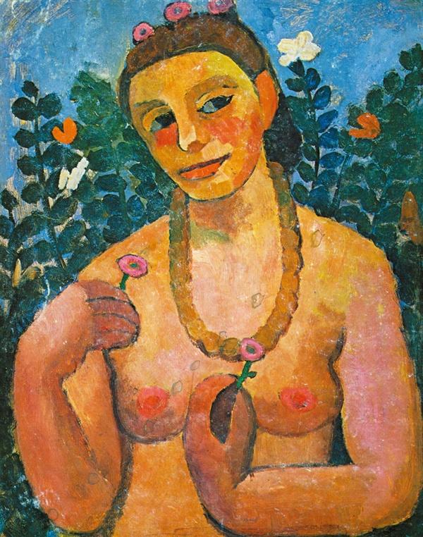 호박 목걸이를 한 반신누드 자화상(파울라 모더존 베커,1906,바젤 미술관)