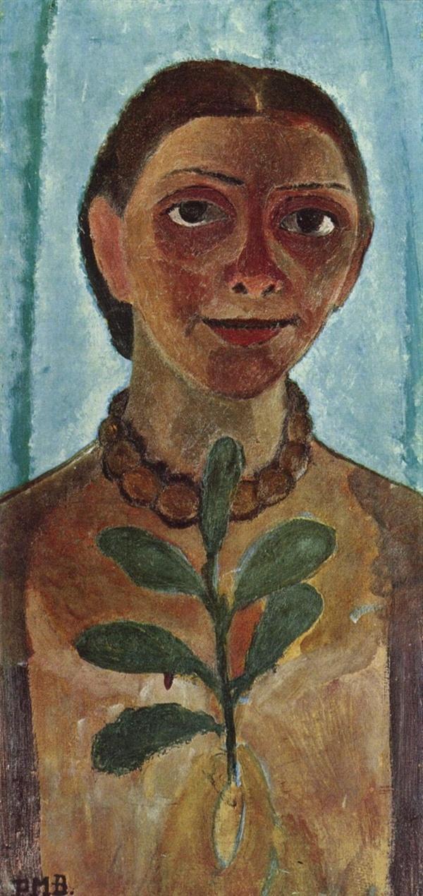 동백나무 가지를 든 자화상(파울라,1907,에센 폴크방 미술관)