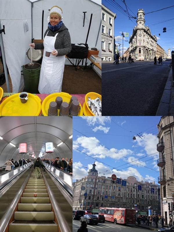 1)차를 떠주는 러시아 아주머니 2)상트페테르부르크의 교차로 3)상트페테르부르크의 깊은 지하철 4)푸른 가을 하늘