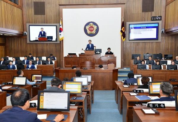 8월 10일 열린 제198회 울산광역시의회 임시회 제3차 본회의.