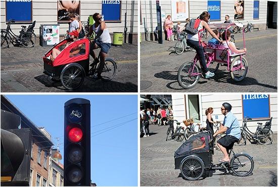 코펜하겐 시내에서 볼 수 있는 자전거 신호등과 다양한 모양의 자전거들.