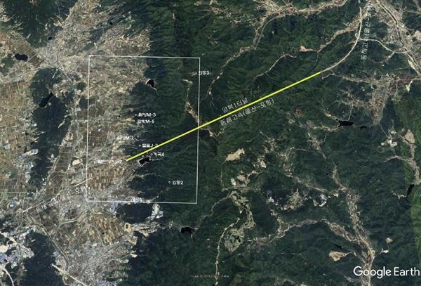 포항울산고속도로 양북1터널 주변 활성단층 분포도(구글 위성 사진)