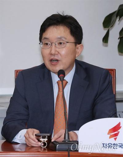 비대위 참석한 김용태 자유한국당 김용태 사무총장이 29일 오전 국회에서 열린 비대위원회의에서 모두발언을 하고 있다.