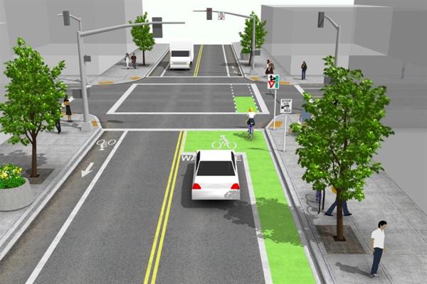 '2018 안전하고 기발한 자전거 정책 콘테스트'에서 최우수상을 받은 바이크 박스(자전거 우선 정지선)의 개념도. 신호교차로에서 차량 정지선과 횡단보도 사이에 자전거 운전자들이 차량보다 먼저 출발할 수 있는 공간을 확보해준다.