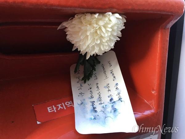 빨간 우체통에 꽂힌 하얀 국화꽃과 공개 편지