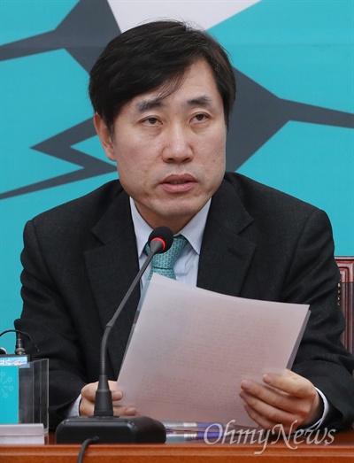바른미래당 하태경 최고위원이 2일 오전 국회에서 열린 최고위원회의에서 모두발언을 하고 있다.