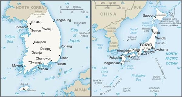 """미국 CIA(중앙정보국)에서 발행하는 '월드팩트북'에 독도('Liancourt Rocks')는 한국과 일본 지도 양쪽에 표시하고, """"한국과 일본은 한국이 1954년부터 점유하고 있는 리앙쿠르 암초(독도/다케시마)를 놓고 분쟁을 벌이고 있다""""고 적고 있다."""
