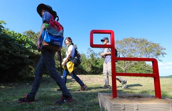 제주올레 세 번째 해외 '자매의 길' 미야기올레에서도 간세(조랑말을 형상화한 제주올레의 상징)를 볼 수 있다.