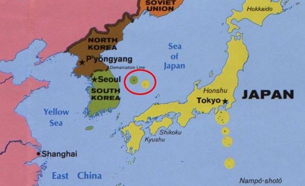 1986년 미국 CIA에서 제작한 '인도양 지역' 지도에서는 독도를 일본 영토와 같은 노란색으로 표기했다.