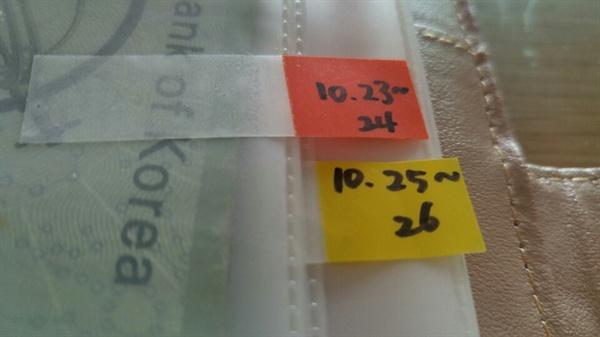 봉투살림. 날짜 별로 예산을 나눠 놓았다.