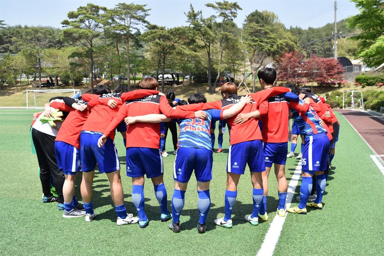 김해대 선수단의 모습