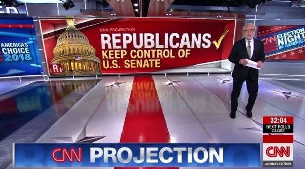 11·6 미국 중간선거에서 공화당의 상원 승리를 전망하는 CNN 뉴스 갈무리.