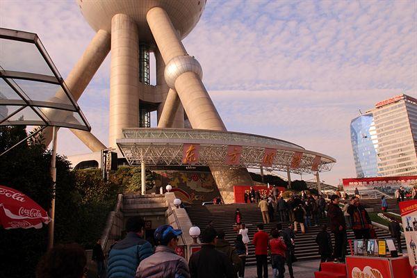 중국 상해 동방명주 방송 수신탑 모습