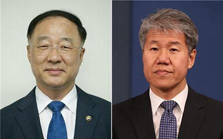 (왼쪽) 홍남기 신임 경제부총리 겸 기획재정부 장관과 김수현 신임 정책실장.