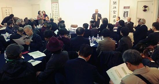 11월 18일 모산학술재단 문화예술공간에서 열린 '모산 심재완 선생 7주기 추도 행사'에서 홍우흠 이사장(영남대 명예교수)이 인사 말씀을 하고 있는 장면