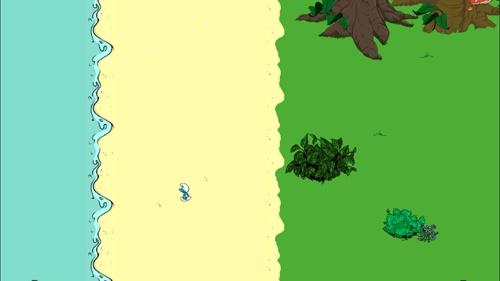한때 빠져있었던 스머프 빌리지 게임에서 한 스머프가 혼자 마을을 빠져나와 유유히 바다로 향하는 모습. 혼자만의 시간이 필요했나보다.