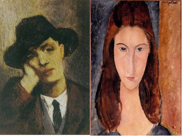 모딜리아니 초상화(잔 에뷔테른, 1919, 개인소장), 잔 에뷔테른 초상화(모딜리아니, 1917~1918, 개인소장)