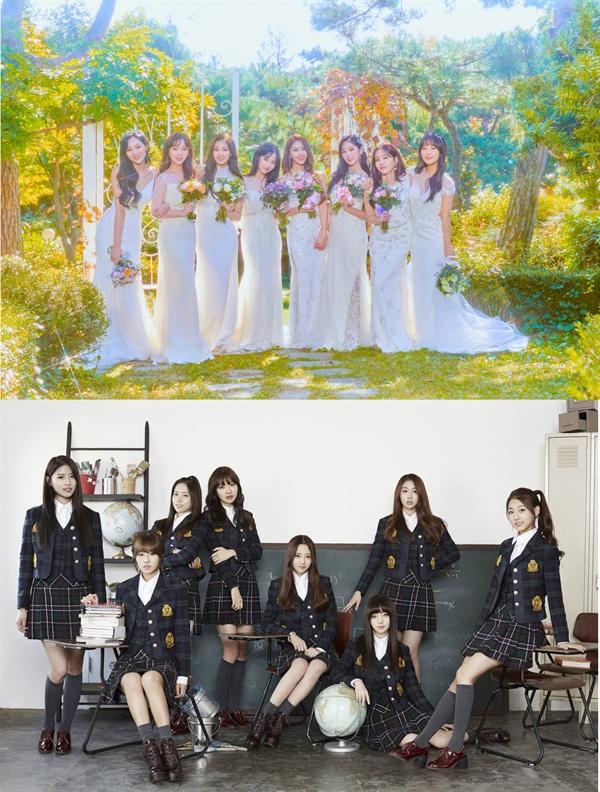 걸그룹 러블리즈가 올해 11월로 데뷔 4주년을 맞이했다.  4년전 교복을 입고 등장했던 소녀들(사진 하단)은 결혼식 신부의 들러리들(사진 상단)처럼 어느새 훌쩍 커버렸다.