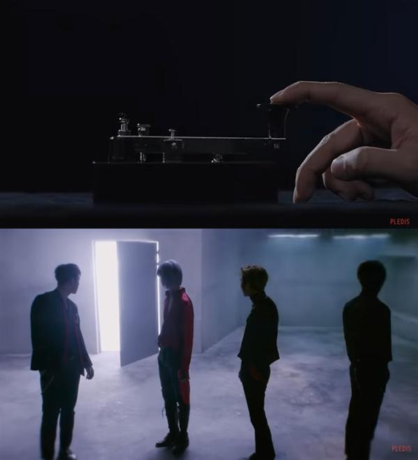 뉴이스트 W의 신곡 'Help Me' 뮤직비디오의 주요 장면.  모스 부호로 시작된 뮤직비디오는 누군가 문을 여는 장면으로 끝을 맺는다.  이는 향후 멤버 황민현의 귀환을 은유적으로 암시하고 있다.