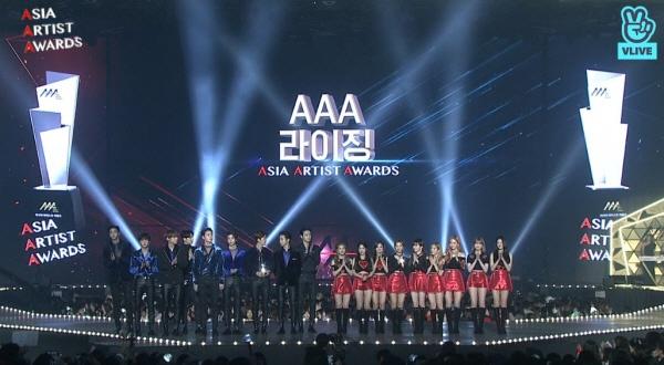 지난 28일 열린 2018 아시아 아티스트 어워즈(AAA)의 한 장면. (방송 화면 캡쳐)