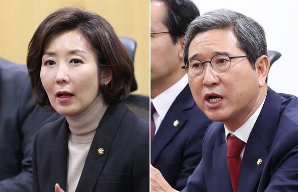 한국당 원내대표에 출마한 나경원-김학용  나경원-김학용 의원은 한국당 내에서 비박으로 분류되는 후보다.