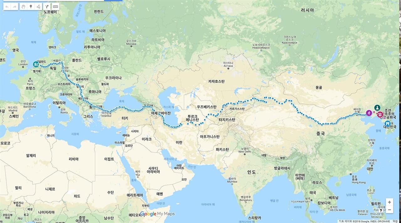 강명구평화마라토너가 달려온 유라시아평화마라톤 루트