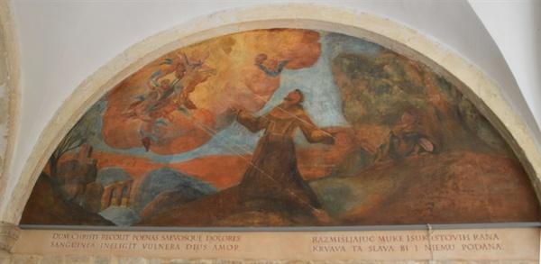 회랑의 성화. 프란체스코 성인이 받은 다섯 곳의 상처를 묘사한, 대표적인 그림이다.