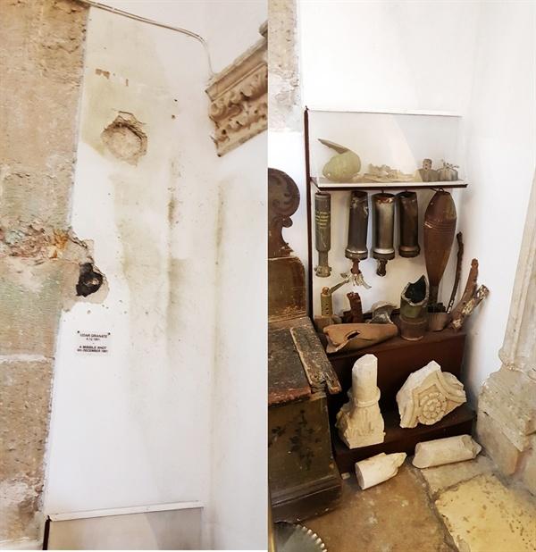 유고 내전의 상처. 내전 당시 포탄이 박힌 자국과 함께 포탄들이 전시되어 있다.
