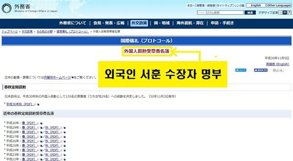 일본 훈장을 받은 외국인 명단을 공개하고 있는 외무성 홈페이지.