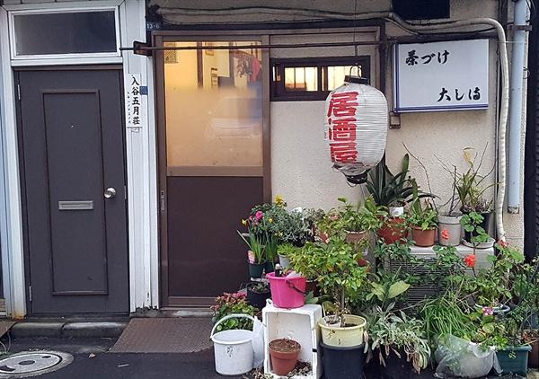 일본의 한 술집 앞에 화분들이 놓여져 있다.